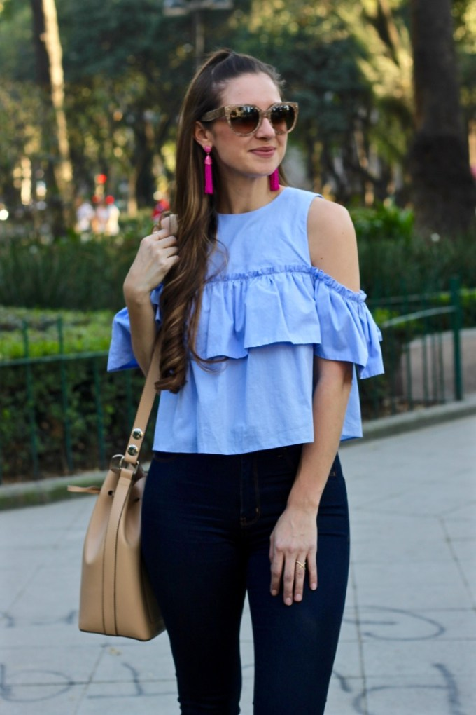 Ruffle Cold Shoulder Top, Pink Piñata Tassel Drop earrings