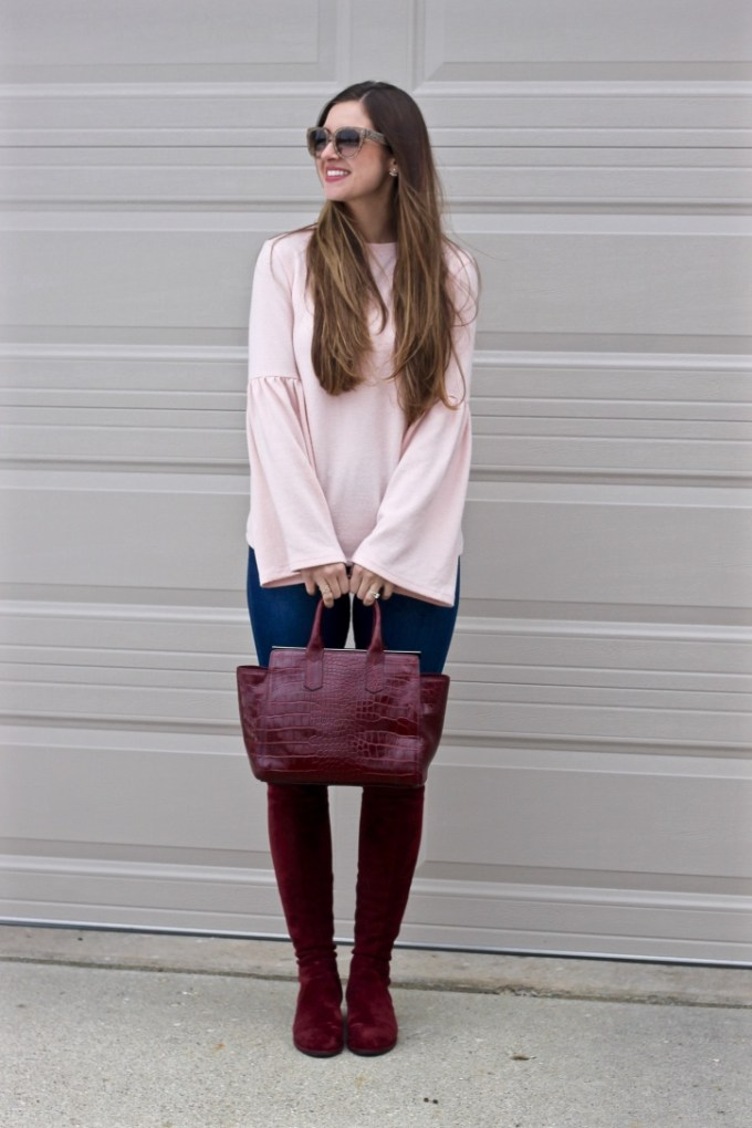 Zara Pale pink soft touch sweater with bell sleeve