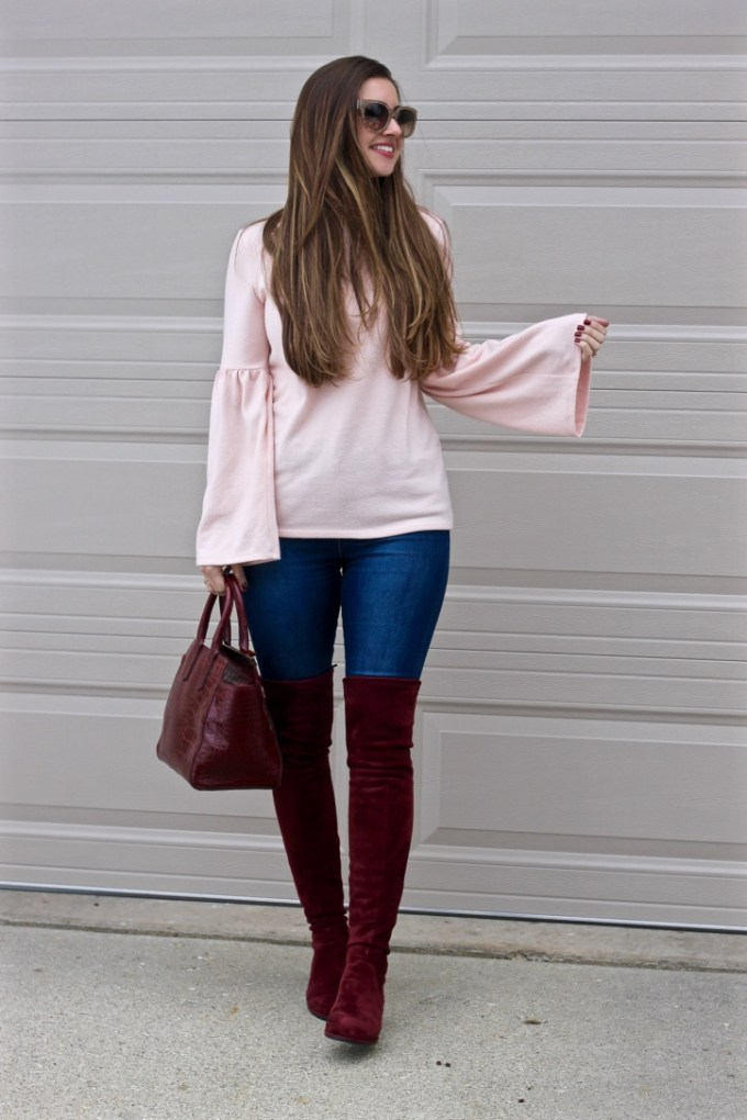 Zara Pale pink soft touch sweater with bell sleeve, burgundy OTK boots, Imitation Stuart Weitzman OTK Boots