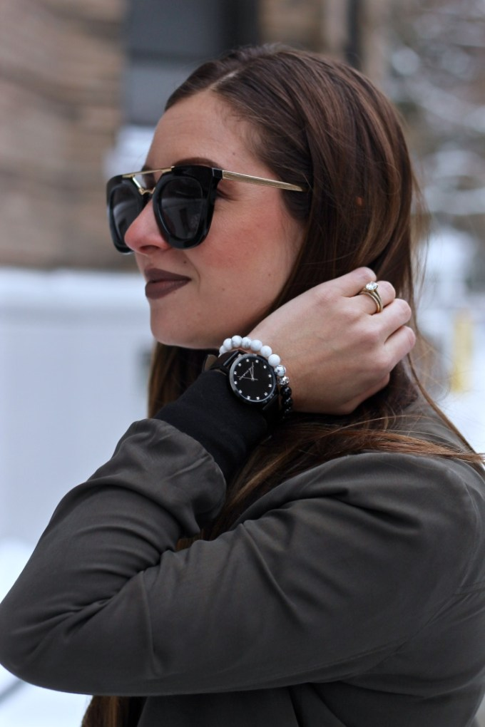 Edgy Olive Green Bomber with Black Choker, Christian Paul Luxe Collection watch