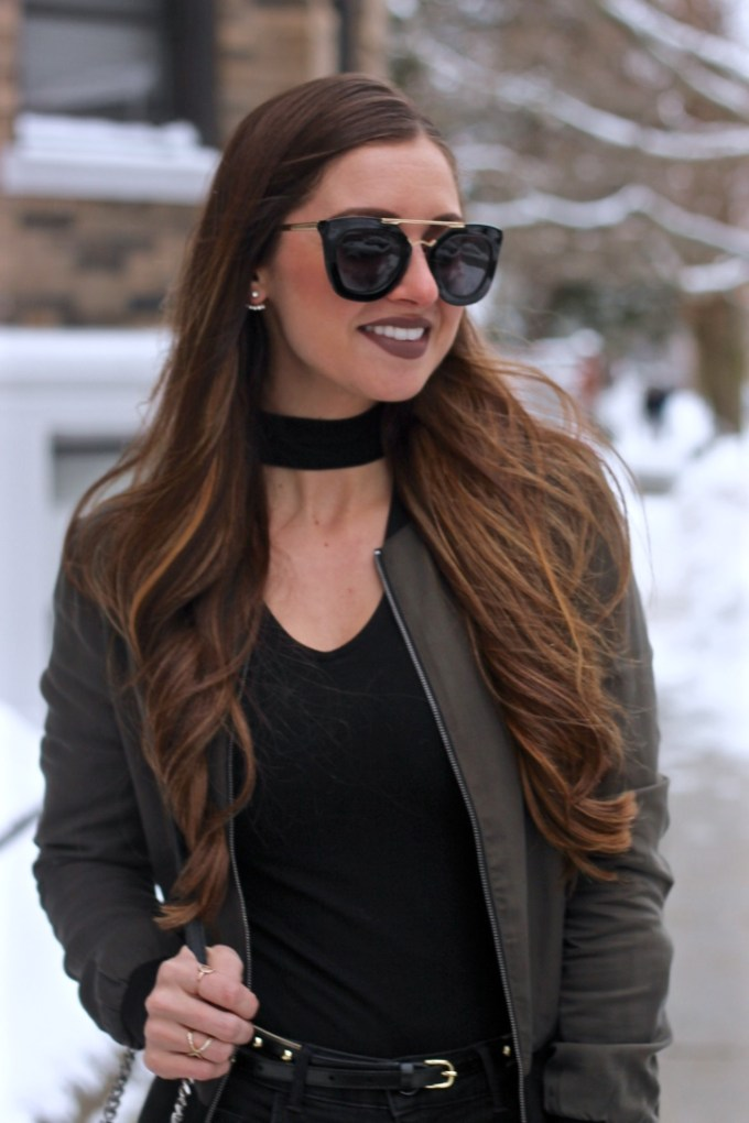 Edgy Olive Green Bomber with Black Choker
