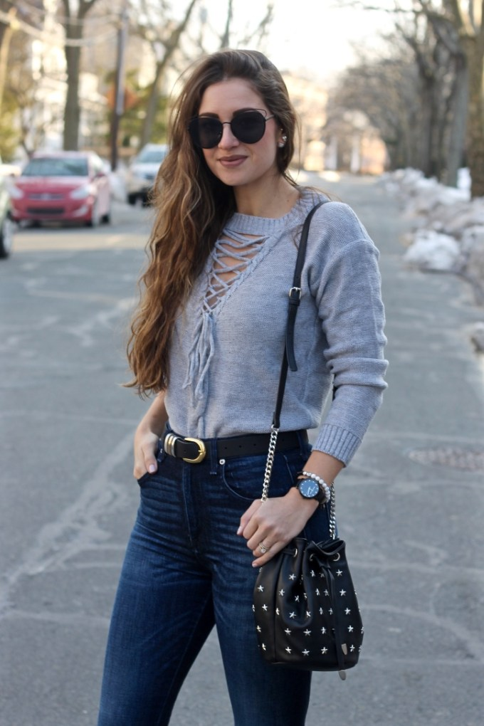 Grey Lace-up Front Sweater