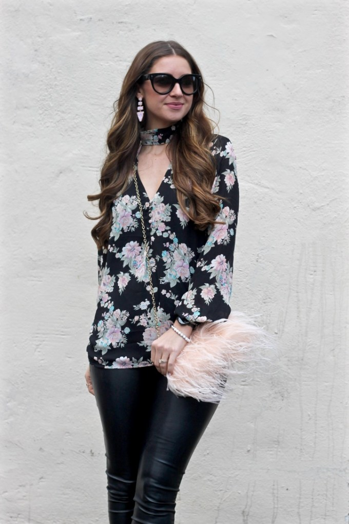 Black Floral Choker Blouse, Fuzzy Blush Purse