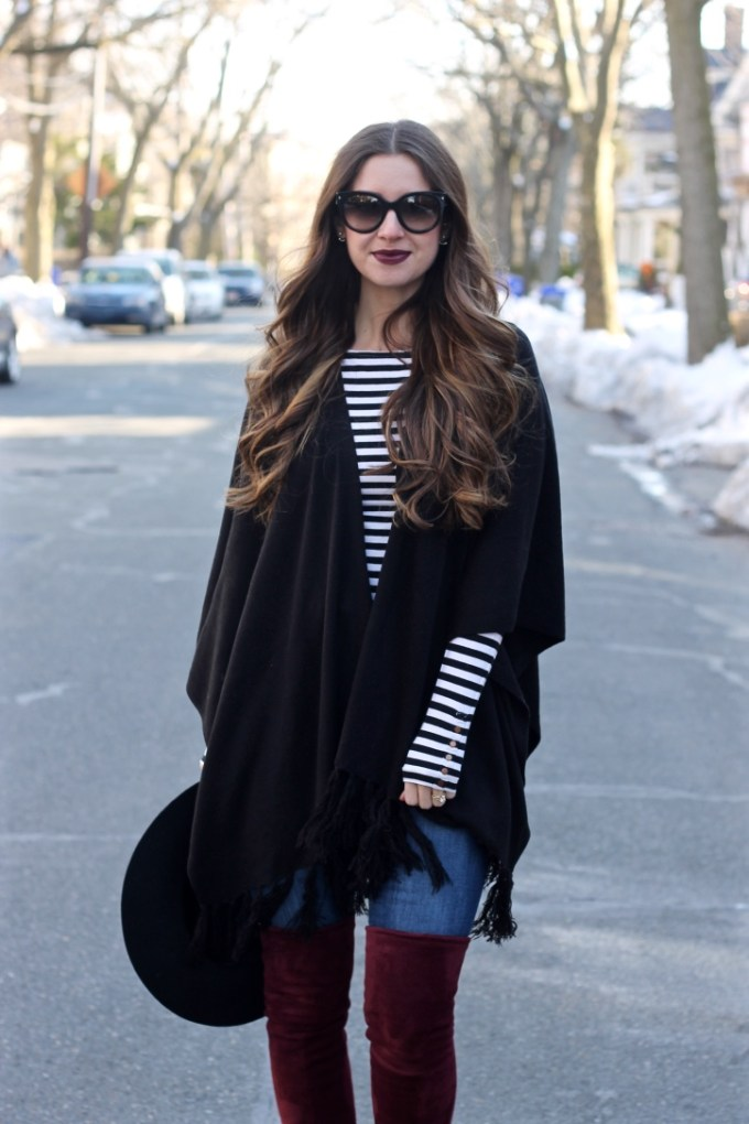 Black fringe poncho, black ruana with striped top