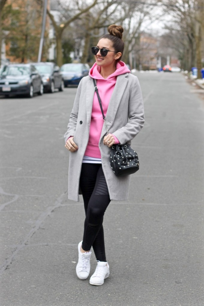 Pink Hoodie, Grey Long Coat, Alo Yoga Leggings and White Adidas Sneakers