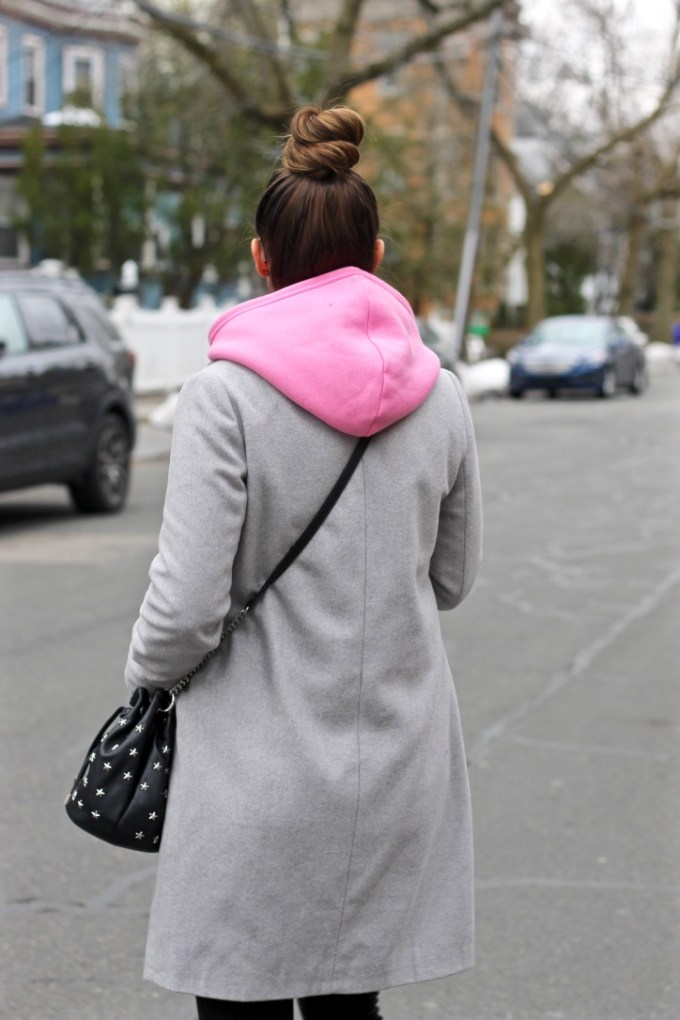 Pink Hoodie, Grey Long Coat