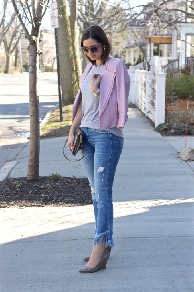Blush Pink Leather Jacket, Zara Flared Jean with Raw Hem