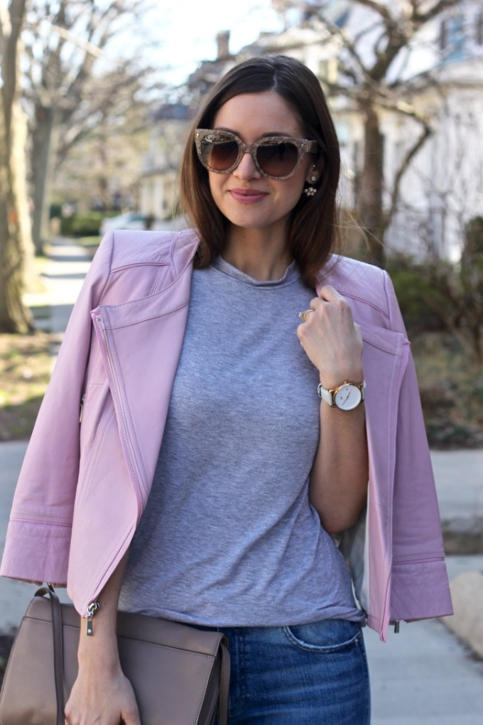 Blush Pink Leather Jacket, MVMT Grey Watch