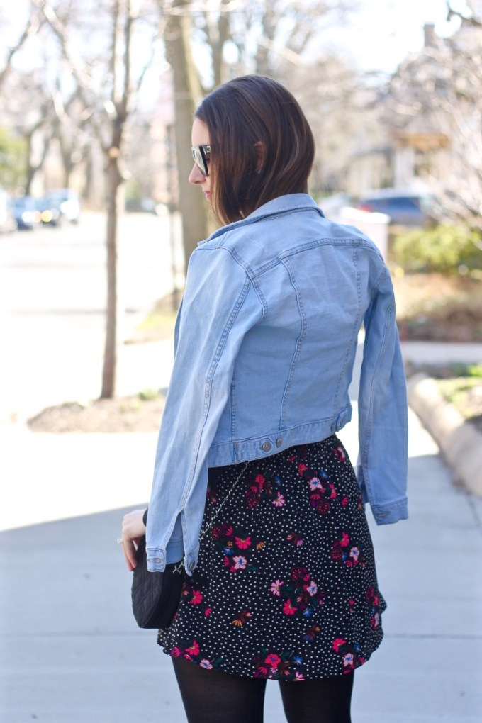 Express black and pink floral skirt
