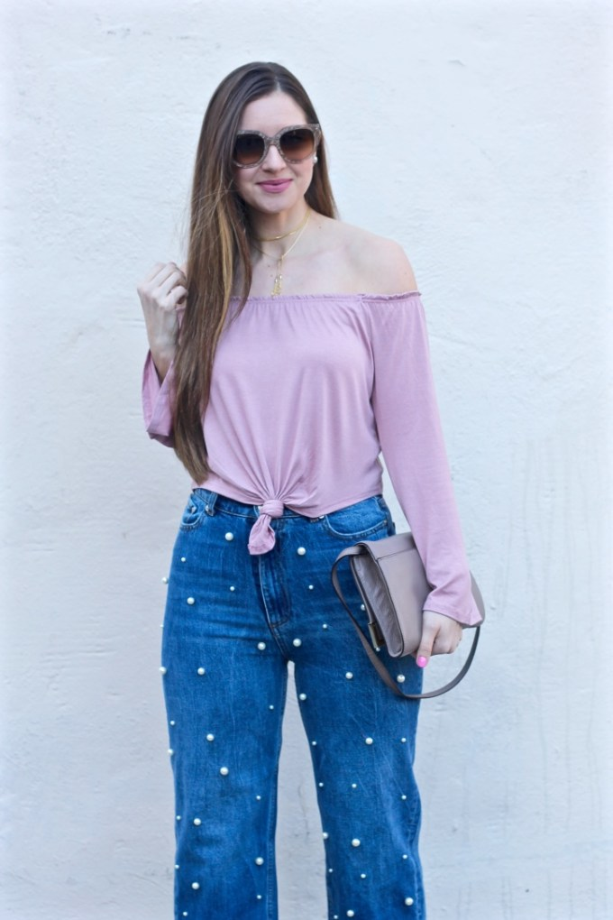Mauve off-the-shoulder top, pearl embellished Zara jeans