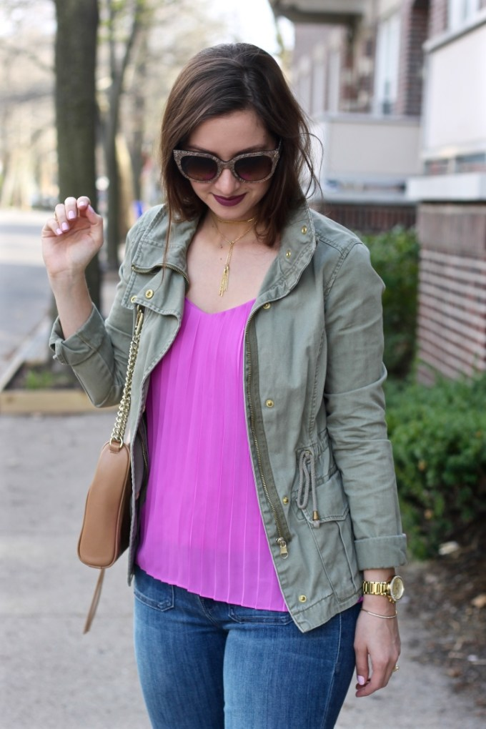 Magenta Pleated Top, Green Anorak Army Jacket
