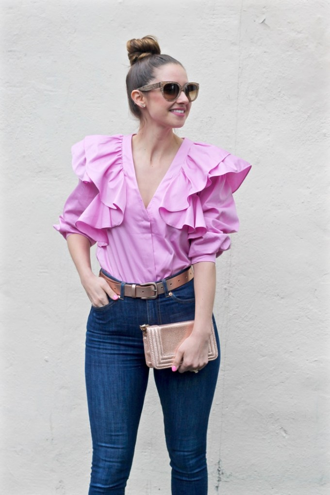 H&M Pink Ruffled Blouse