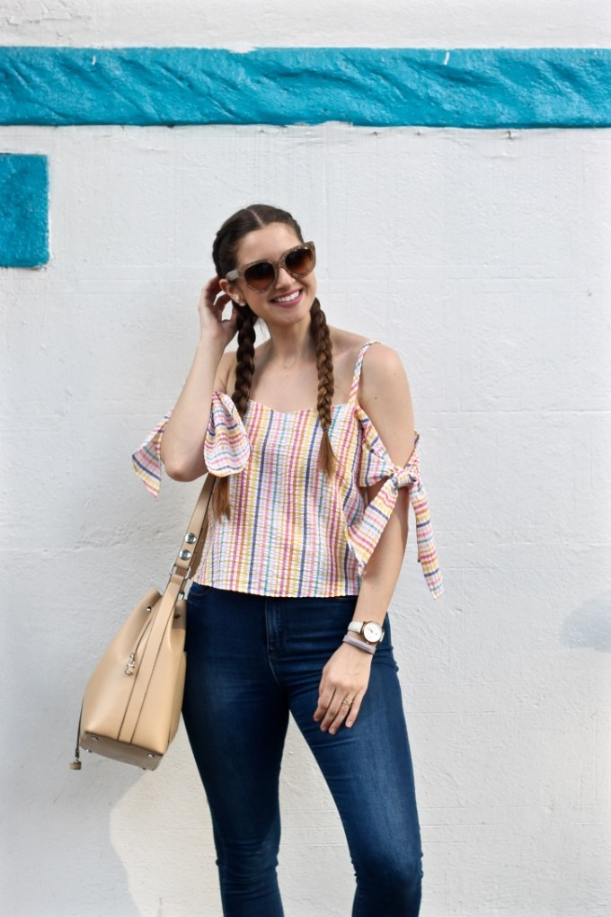 Summer Outfit, ASOS Cold Shoulder Top Seersucker Multi Gingham, Dutch Braids
