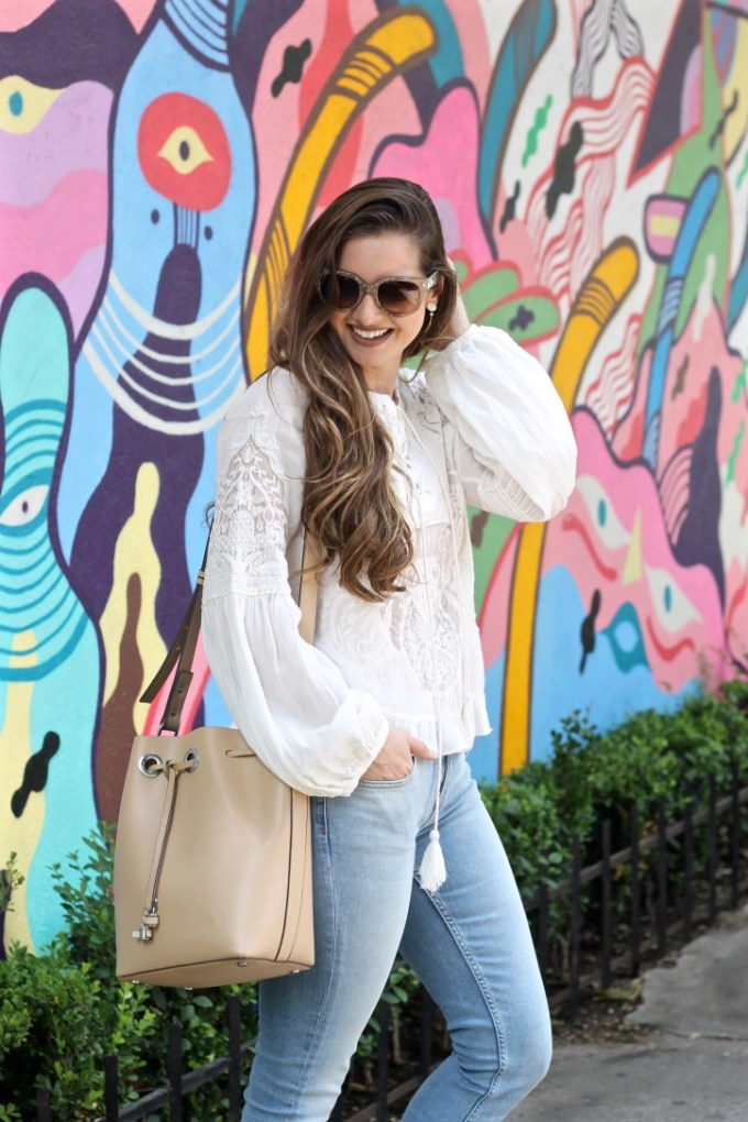 Zara embroidered lace blouse