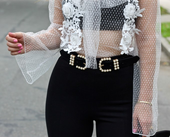 Asos Pearl Double Buckle Belt, PrettyLittleThing Mesh Bow Top, Styling a Mesh Top, How to wear See-through Shirts