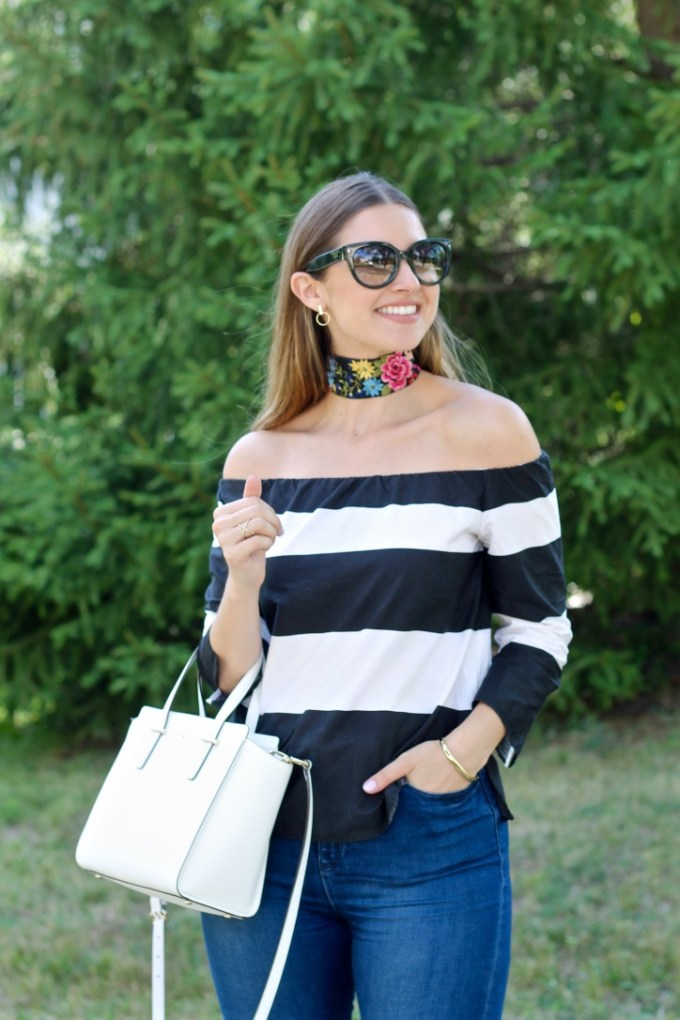 Striped off the shoulder top, thick floral choker