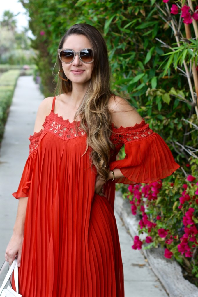 H&M Rusty Red-Orange Chiffon Cold Shoulder Lacey Dress