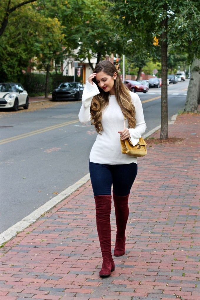 Primark pearled bell sleeve sweater, burgundy suede OTK boots, fall outfit inspiration