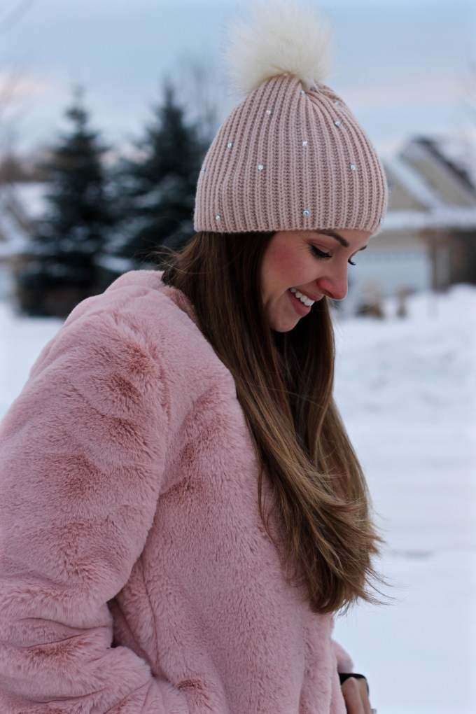 Blush Oversized Faux Fur coat by the Gap