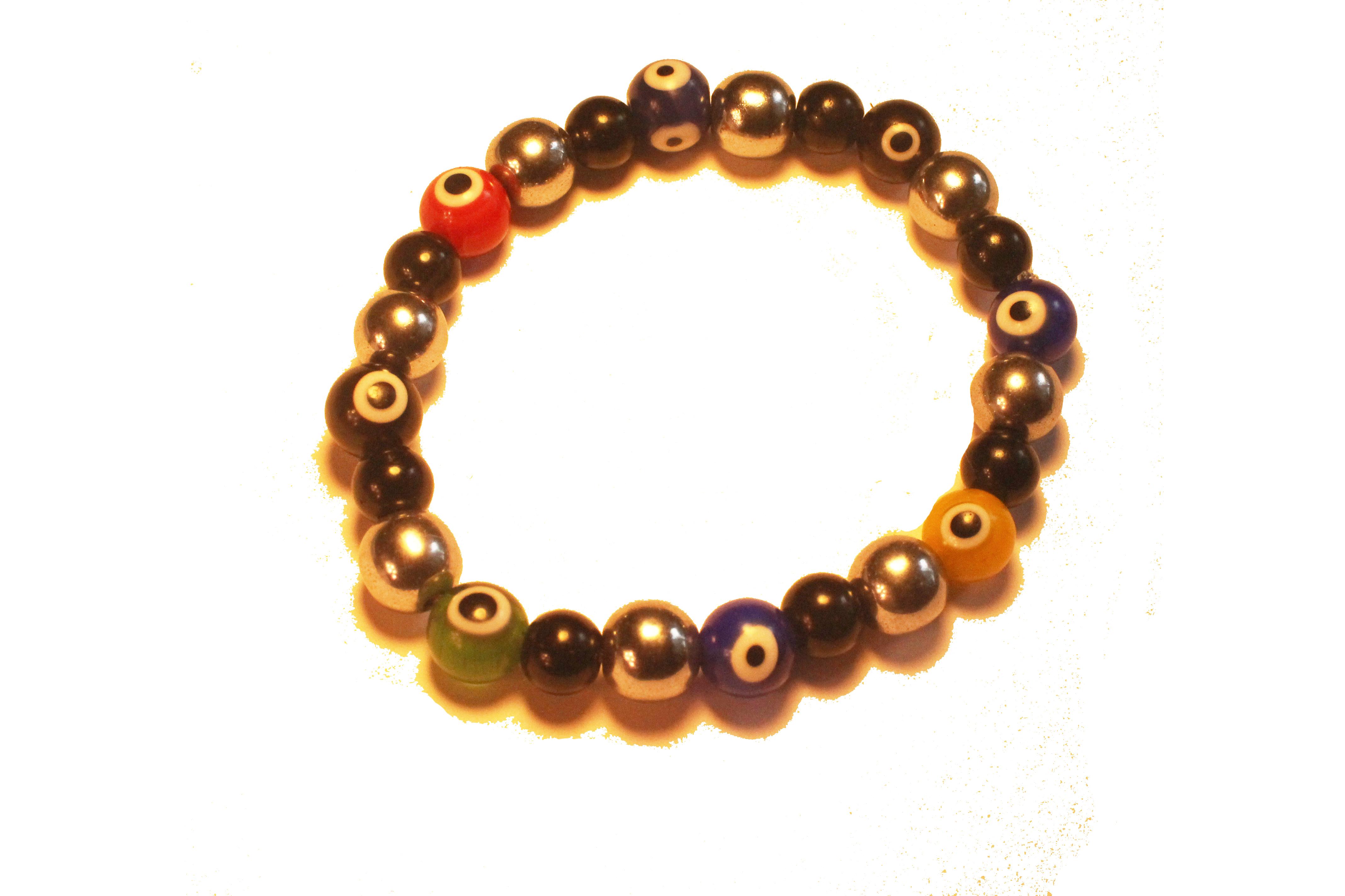 Hematite And Jasper Evil Eye Bracelet