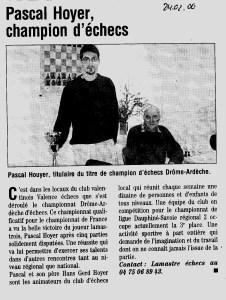 Pascal Hoyer champion d echecs Drome Ardeche 2006