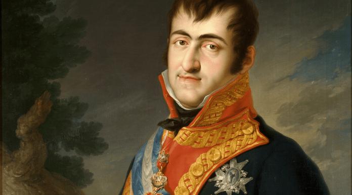 Recorte del retrato de Fernando VII (1784-1833) de Vicente López.