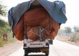 overload - Mahindra Pickup Truck Overloaded.
