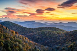 Blue Ridge Mountains, autumn scenic sunrise, North Carolina