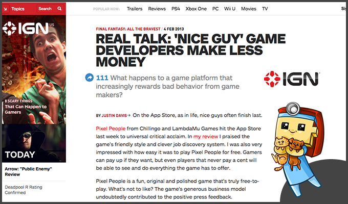 IGN discusses Pixel People and the future of Freemium.