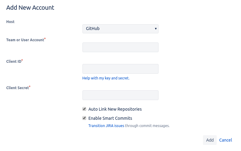 Adding a GitHub account to Jira