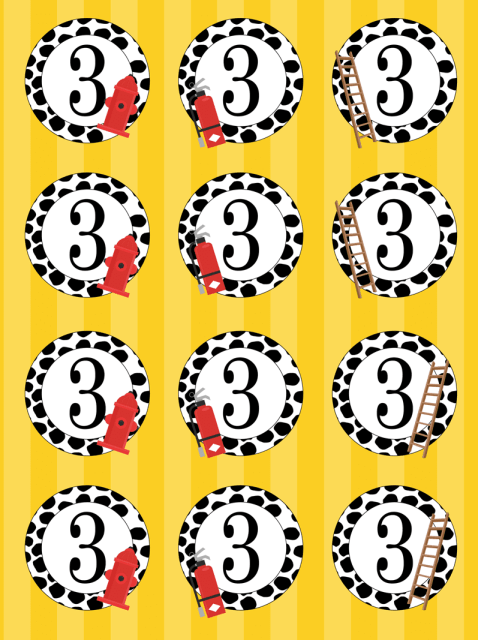Free printable cupcake toppers for a fireman / firetruck birthday party