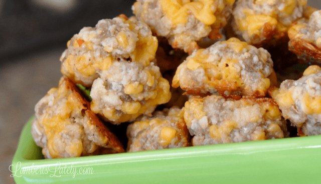 Easy recipe for savory cheesy sausage balls - you probably have most of the ingredients on hand! The cream cheese makes them so rich and delicious.