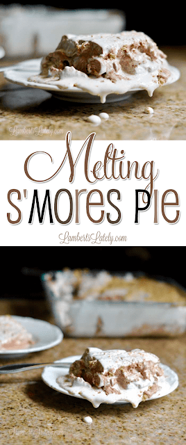 This Melting S'mores Pie looks so ooey, gooey, and delicious!  Uses simple ingredients (like chocolate pudding mix and marshmallow fluff) for an easy potluck dessert.  Yummy!