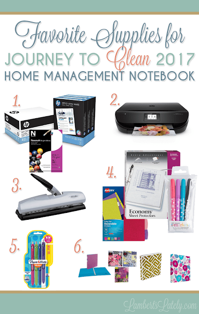 Supplies for a Home Management Notebook || Journey to Clean || Cleaning Organizer || Printables