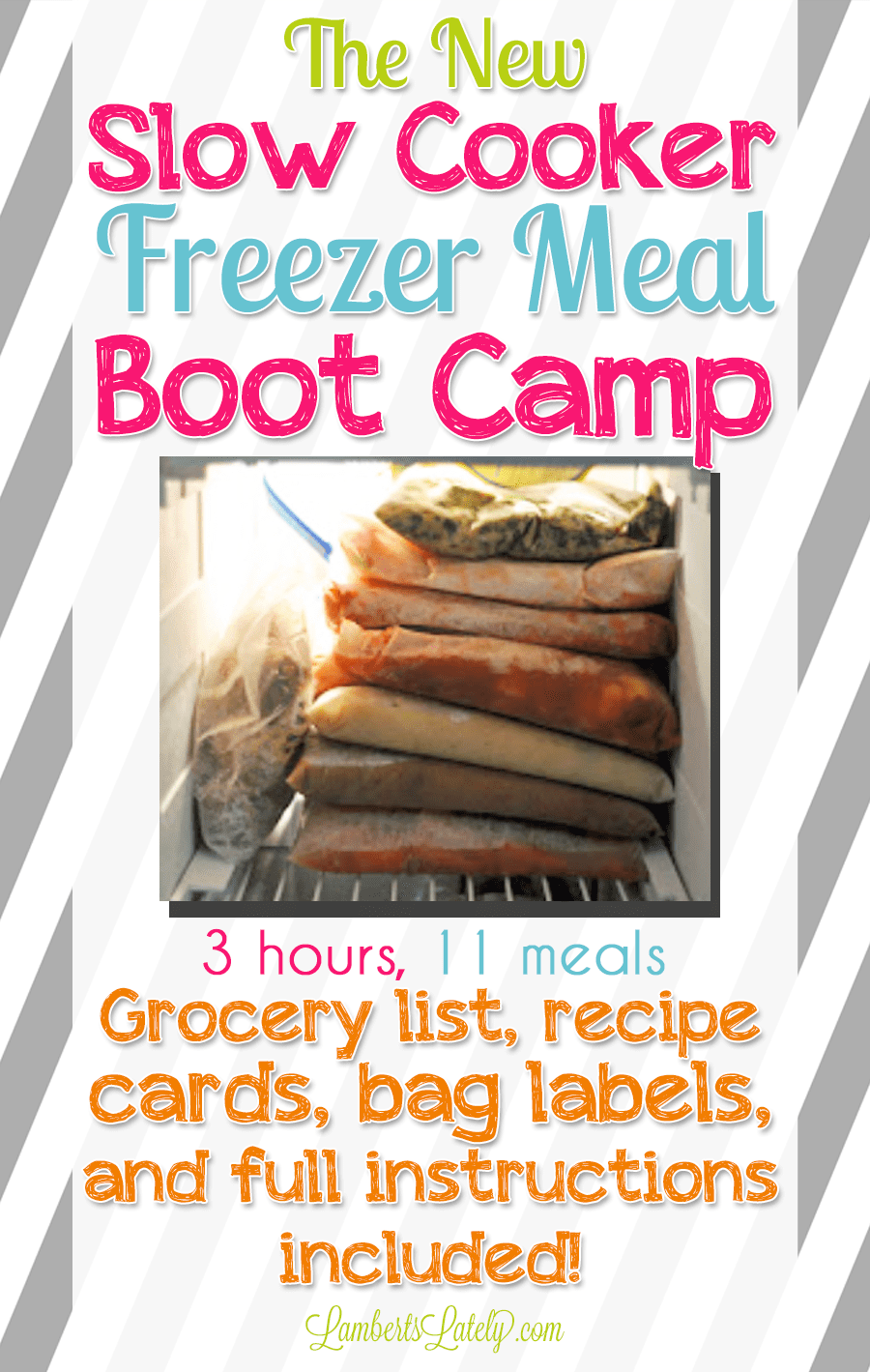 This post has 11 easy slow cooker freezer meals!  You can prep these recipes in just a few hours.  Includes chicken, beef, and vegetarian recipes, as well as grocery list and label printables.  For use in a Crock Pot or other slow cooking machine.