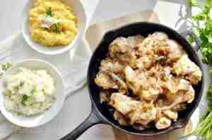 Caramelized Onion Chicken Thighs with Alexia Premium Side Dishes