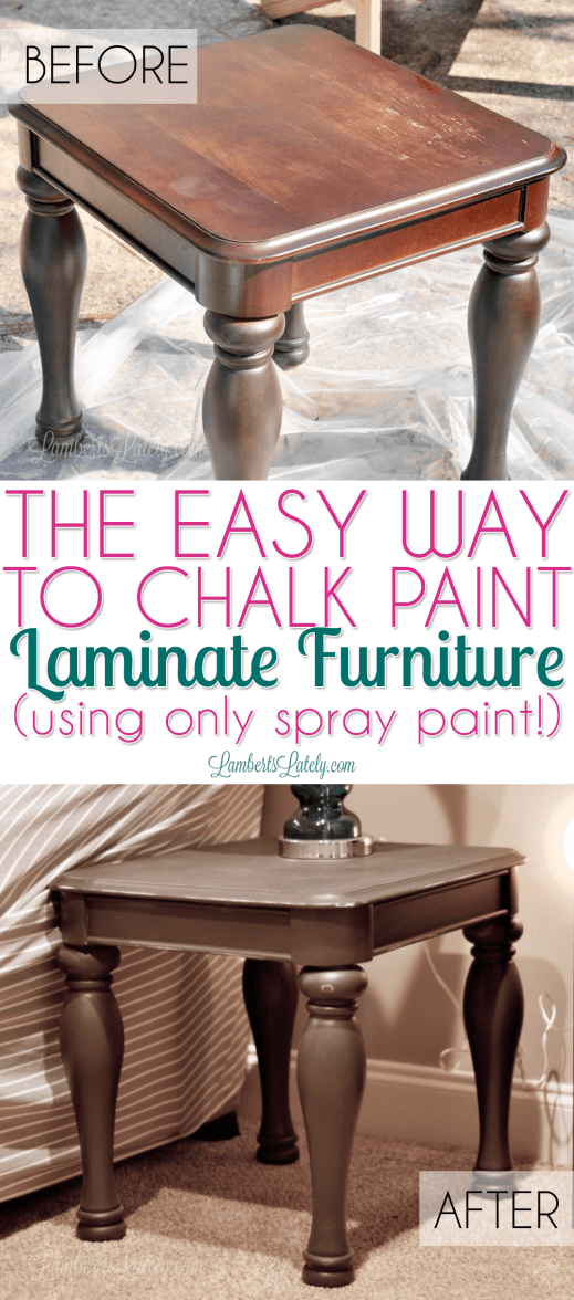 Great tutorial on how to chalk paint laminate furniture - in this tutorial, she uses only spray paint to refinish cheap, damaged laminate wood!