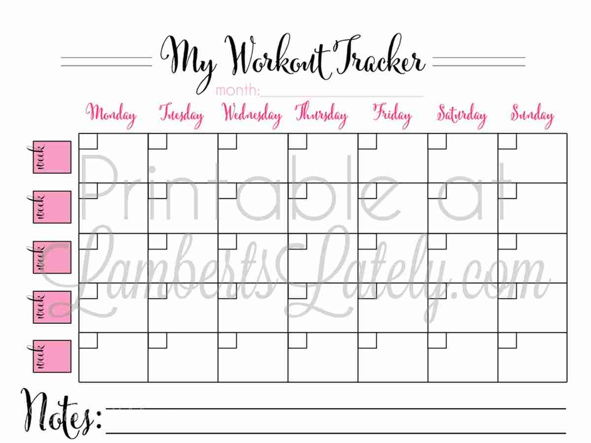 picture relating to Printable Workout Calendars named Printable Regular Work out Calendar Lamberts Just lately