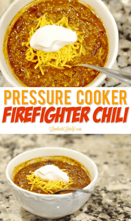 This pressure cooker Firefighter Chili recipe uses ground beef, bacon, and sausage to give the soup tons of smokey flavor!  This is easy to prep in the Instant Pot for a big crowd.