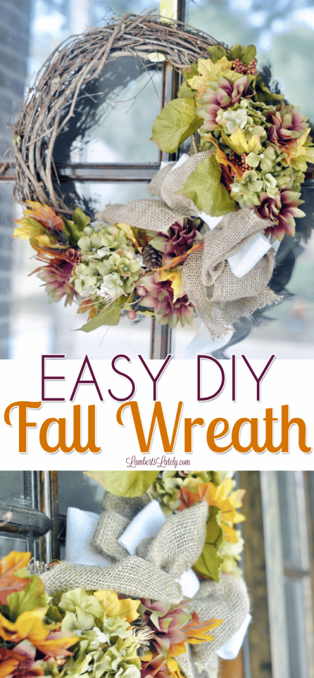 This Easy DIY Fall Wreath is perfect for an autumn front door...uses a grapevine wreath, burlap ribbon, and dollar store flowers for a gorgeous, rustic look!