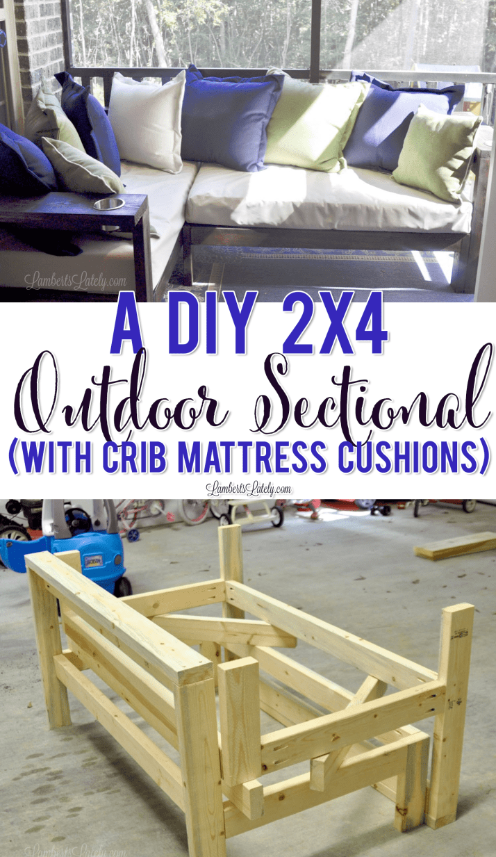A Diy 2x4 Outdoor Sectional With Crib Mattress Cushions