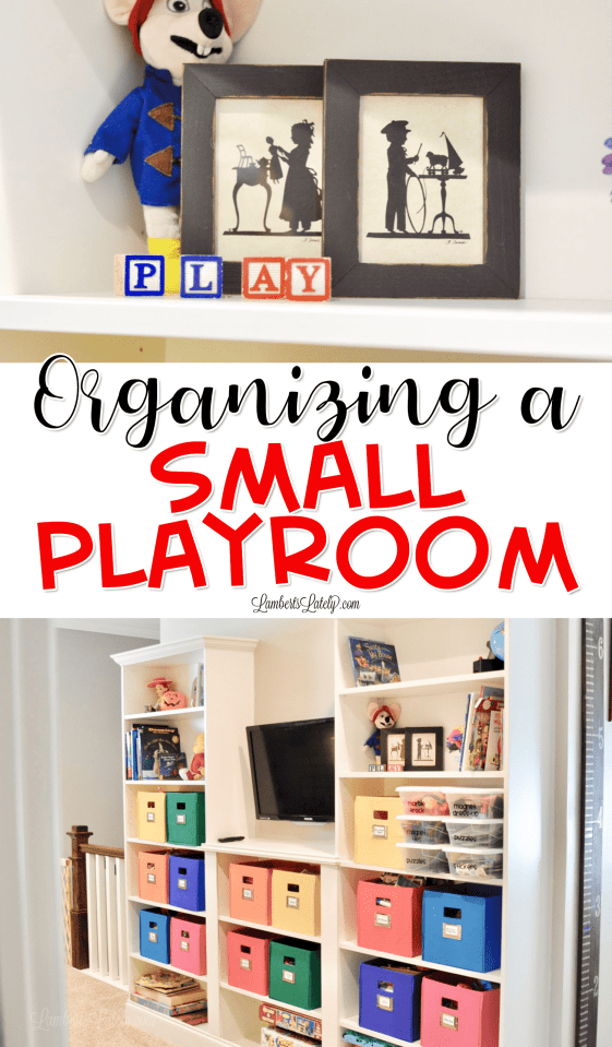Want a few ideas for how to organize a small playroom? This post gives tips on toy bins to use, how to divide play spaces, and using DIY methods to create a fun and clean space.