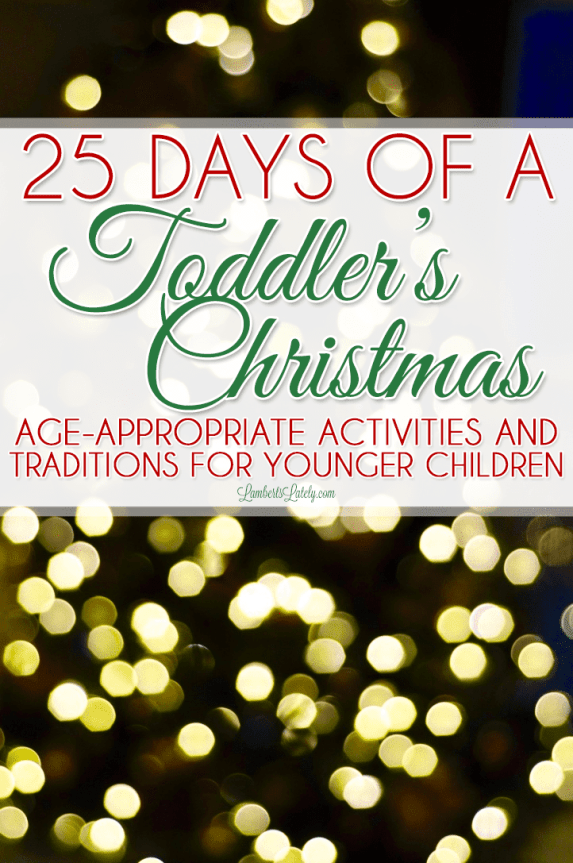 Need a few ideas to celebrate Christmas with your toddler?  This list of age-appropriate activities for older babies & preschoolers includes crafts, ways to give back, and new traditions for the whole family.
