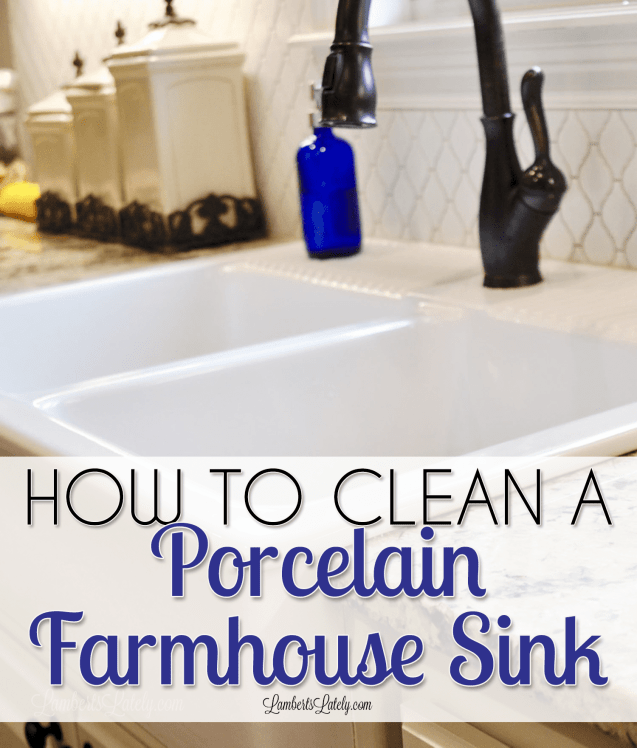This post has great tips for how to clean a porcelain sink using simple products like baking soda, vinegar, and Bar Keeper's Friend. Learn how to remove really stubborn stains in a kitchen sink!