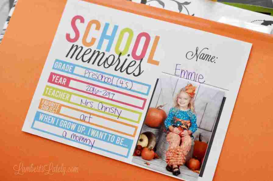 A Simple School Paper Organization Printable | Lamberts Lately