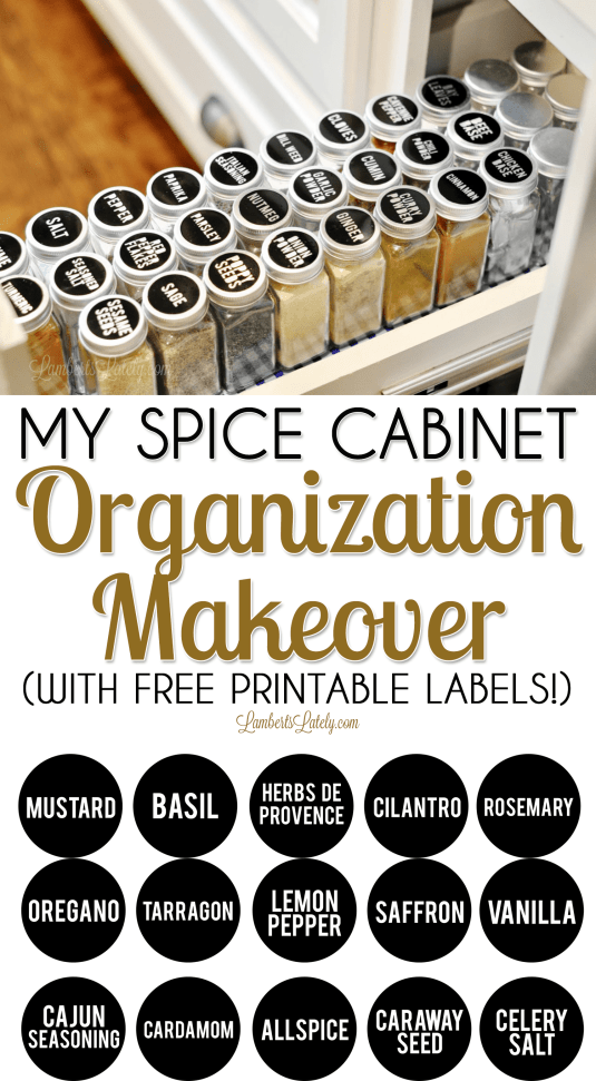 Want to complete your own DIY spice cabinet organization project? Get ideas on what containers to use, how to label (with free printables), and ways to store in a pull-out spice drawer.