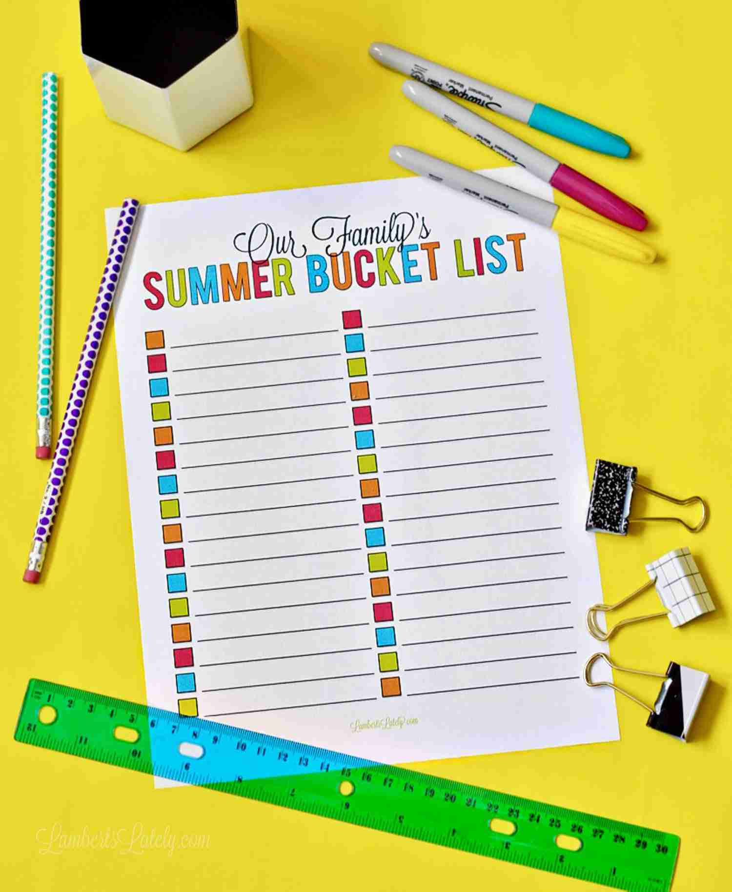 image about Summer Bucket List Printable called 101 Programs for a Spouse and children Summer time Bucket Record ( Printable