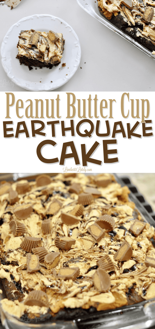 This Peanut Butter Cup Earthquake Cake recipe is made with Reese's, peanut butter frosting made from scratch as a rich filling, and chocolate cake mix - so moist and rich! Tastes just like the popular candy, but in a decadent dessert.