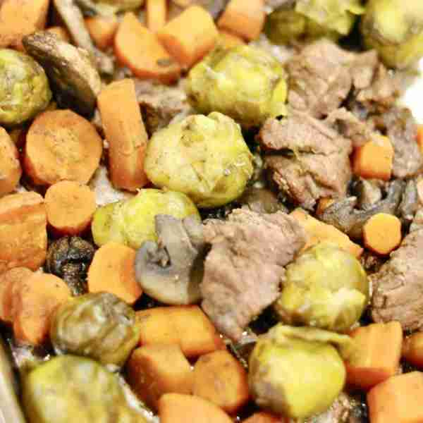 Sheet Pan Balsamic Beef & Brussels Sprouts (Part 7 – Sheet Pan Dinners Freezer Meal Boot Camp)