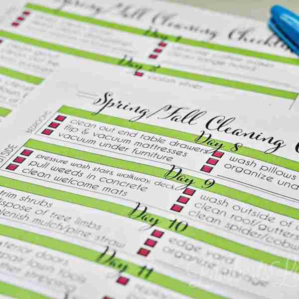 My 14-Day Spring and Fall Cleaning Checklist Printable